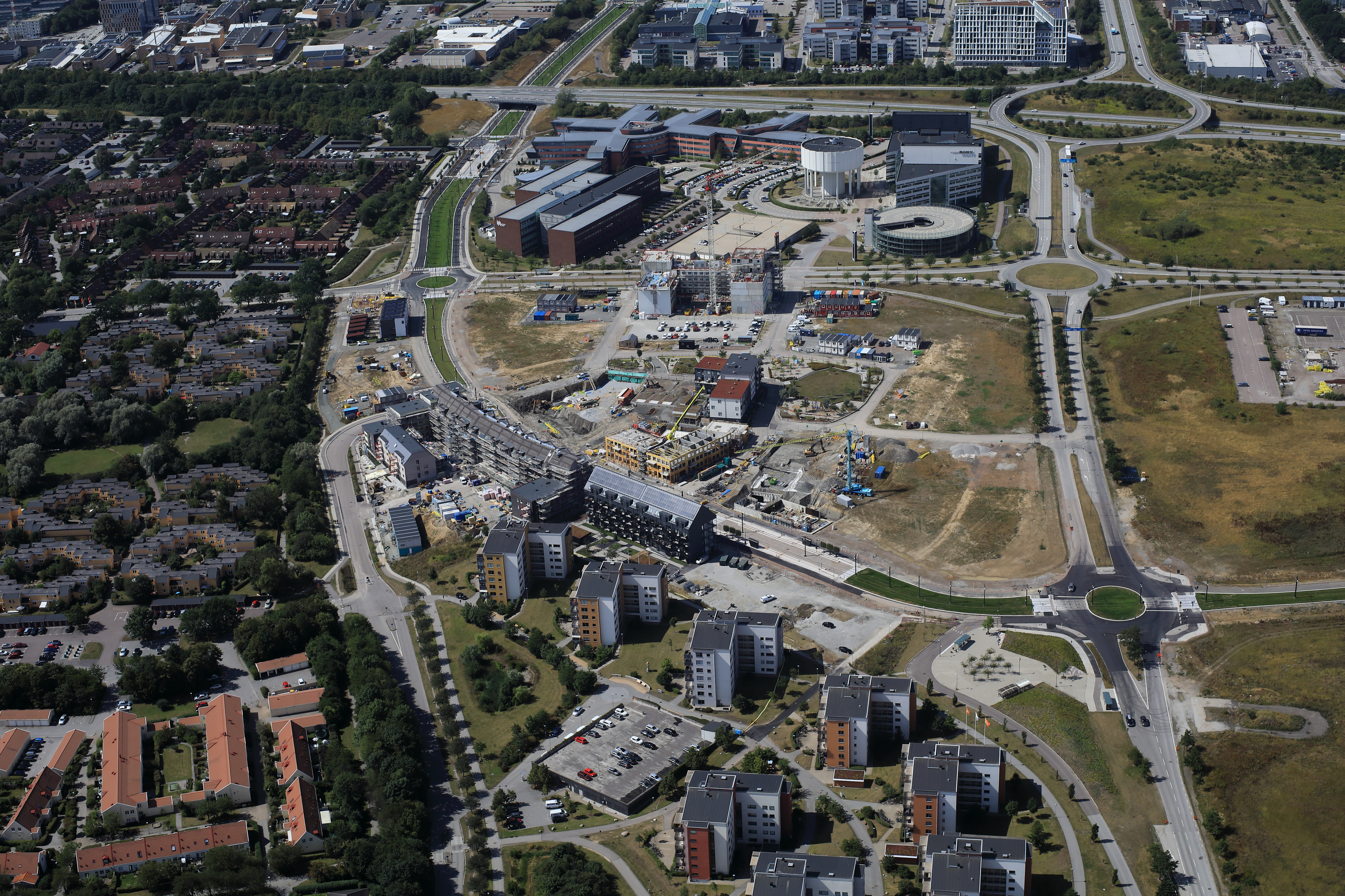 Air-photo of south Brunnshög, a new city district in Lund, Sweden.