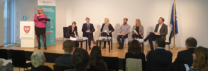 Picture of participants at panel debate on energy restructuring in Brussels.